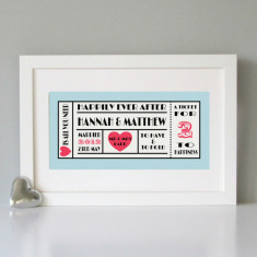 Personalised retro ticket style wedding print (3 colours)