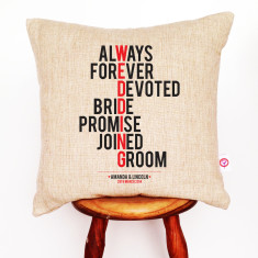 Wedding personalised linen cushion cover