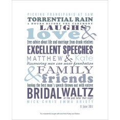 Wedding moments custom made print (range of colours)