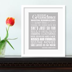 We love grandma personalised print (various colours)