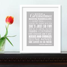 We love grandma personalised print (various colours)