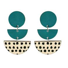 Three tiered spot earrings in green