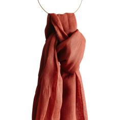 Terracotta linen scarf