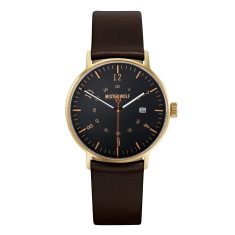 Gold 39mm case with ebony brown leather band