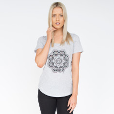 Lotus Mid Grey Marle Cotton Tee