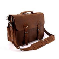 Leather Briefcase Work Bag In Tan - XL