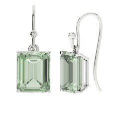Green amethyst sterling silver drop earrings