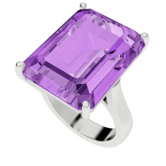 Amethyst sterling silver cocktail ring
