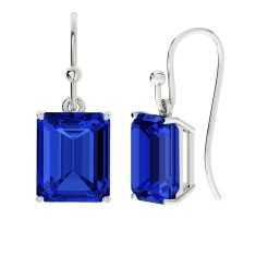 Sapphire sterling silver drop earrings