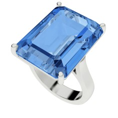 Blue topaz sterling silver cocktail ring