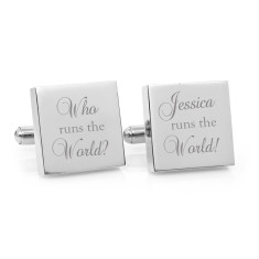 Personalised who runs the world cufflinks