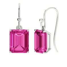 Pink sapphire sterling silver drop earrings