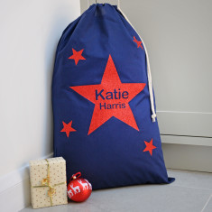 Personalised Metallic Star Navy Christmas Sack