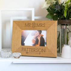 Personalised 'Mr And Mrs' Wedding Photo Frame