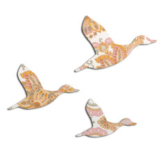 Vintage Wallpaper Flying Ducks - Pink, Silver and Orange
