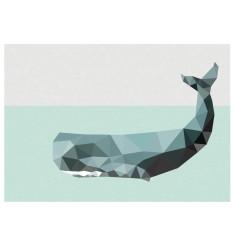 Geometric whale art print