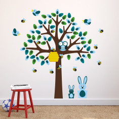 Blue Tree With Bunny Rabbits Wall Sticker
