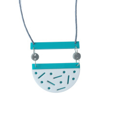 Confetti necklace in aqua, white, grey