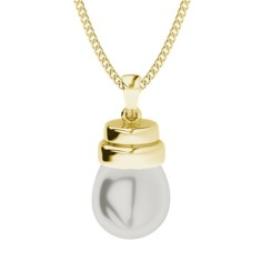 White drop pearl yellow gold necklace