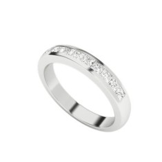 Princess cut diamond 9 carat white gold channel ring