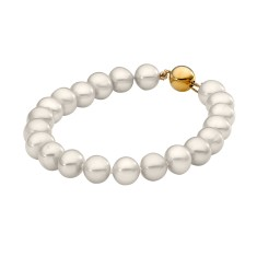 White pearl bracelet with 9ct yellow gold clasp