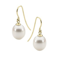 White pearl yellow gold earrings