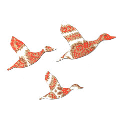 Trio of ducks in red, gold & white