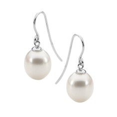 White pearl 9ct white gold drop earrings