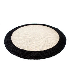 Black and white felt ball rug