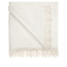 Pure cashmere throw in ivory