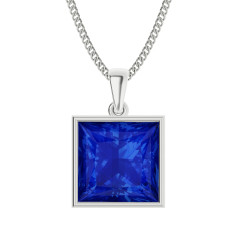 Princess cut blue sapphire necklace