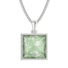 Princess cut green amethyst necklace