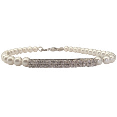 Sterling silver glass pearl bracelet with crystal bar