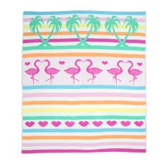 Weegoamigo knitted baby blanket in flamingos print