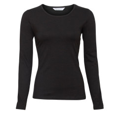 Long sleeve stretch top in black