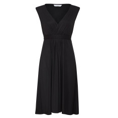 Capped sleeve jersey dress in black