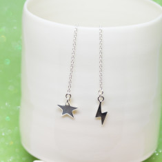 Rock and roll sterling silver star and lightening chain gang earrings