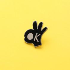 OK Hand Gesture Enamel Pin