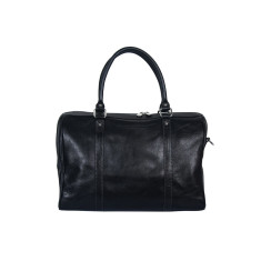 Horizon black leather weekender bag