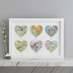 Personalised Six Map Hearts Wedding Anniversary Print