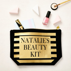 Black and Gold Beauty Kit Makeup Bag