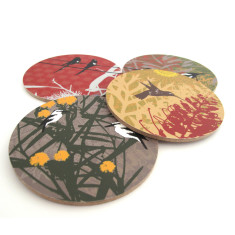 Australian bird coasters (set of 4)
