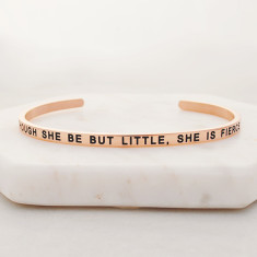 Though she be but little, she is fierce bangle in rose gold