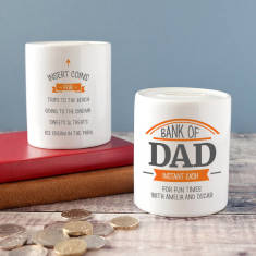 Personalised Bank Of Dad Instant Cash Money Box