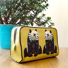 Mustard Yellow Panda Travel Wash Bag