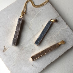 Drusy Beam Pendant Necklace