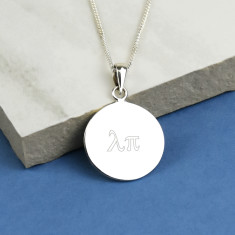 Greek Monogram Sterling Silver Disc Necklace