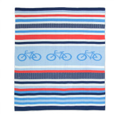 Weegoamigo knitted baby blanket in cycle stripe