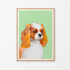 Cavalier King Charles spaniel illustrated print