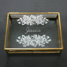 Personalised glass rectangular keepsake box with roses